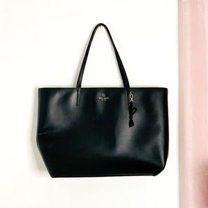 Kate Spade Large Black Leather Tote Bag Pink Inter